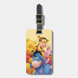 Small Luggage Tag with leather strap with Winnie the Pooh, Tigger, Eeyore and Piglet Group Photo design