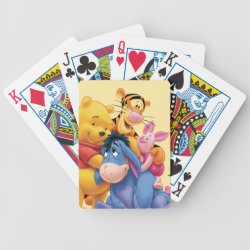 Playing Cards with Winnie the Pooh, Tigger, Eeyore and Piglet Group Photo design