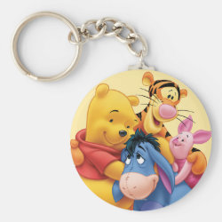 Basic Button Keychain with Winnie the Pooh, Tigger, Eeyore and Piglet Group Photo design