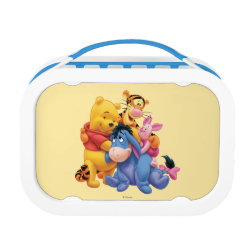 Blue yubo Lunch Box with Winnie the Pooh, Tigger, Eeyore and Piglet Group Photo design
