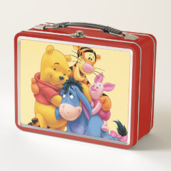 Metal Lunch Box with Winnie the Pooh, Tigger, Eeyore and Piglet Group Photo design