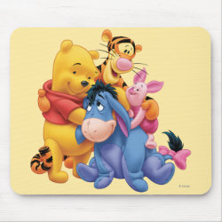Mousepad with Winnie the Pooh, Tigger, Eeyore and Piglet Group Photo design