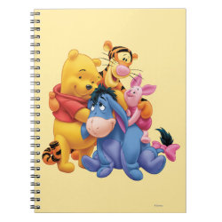 Photo Notebook (6.5' x 8.75', 80 Pages B&W) with Winnie the Pooh, Tigger, Eeyore and Piglet Group Photo design