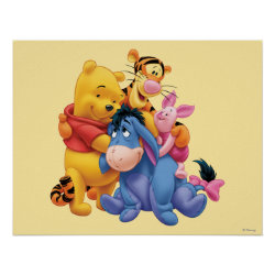 Matte Poster with Winnie the Pooh, Tigger, Eeyore and Piglet Group Photo design
