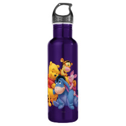 Winnie the Pooh, Tigger, Eeyore and Piglet Group Photo Water Bottle (24 oz)
