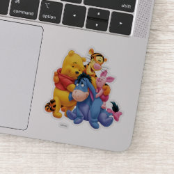 Extra-Small 3' x 3' Contour Sticker with Winnie the Pooh, Tigger, Eeyore and Piglet Group Photo design