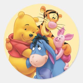 Pooh Friends 5 Round Stickers