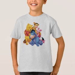 Winnie the Pooh, Tigger, Eeyore and Piglet Group Photo Kids' Hanes TAGLESS® T-Shirt