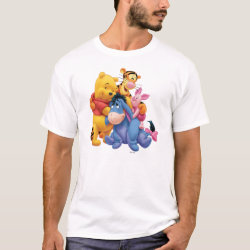 Men's Basic T-Shirt with Winnie the Pooh, Tigger, Eeyore and Piglet Group Photo design