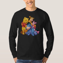 Men's Basic Long Sleeve T-Shirt with Winnie the Pooh, Tigger, Eeyore and Piglet Group Photo design