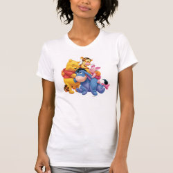 Women's American Apparel Fine Jersey Short Sleeve T-Shirt with Winnie the Pooh, Tigger, Eeyore and Piglet Group Photo design