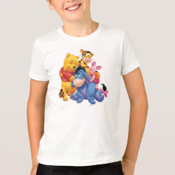 Kids' American Apparel Fine Jersey T-Shirt with Winnie the Pooh, Tigger, Eeyore and Piglet Group Photo design