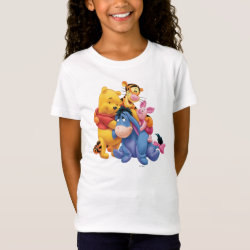 Girls' Fine Jersey T-Shirt with Winnie the Pooh, Tigger, Eeyore and Piglet Group Photo design
