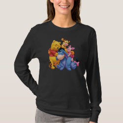 Winnie the Pooh, Tigger, Eeyore and Piglet Group Photo Women's Basic Long Sleeve T-Shirt