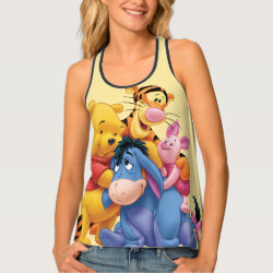 Women's All-Over Print Racerback Tank Top with Winnie the Pooh, Tigger, Eeyore and Piglet Group Photo design