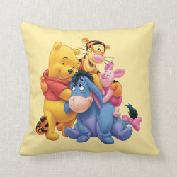 Cotton Throw Pillow with Winnie the Pooh, Tigger, Eeyore and Piglet Group Photo design