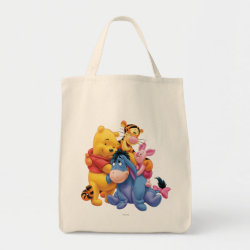 Grocery Tote with Winnie the Pooh, Tigger, Eeyore and Piglet Group Photo design