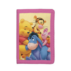 TriFold Nylon Wallet with Winnie the Pooh, Tigger, Eeyore and Piglet Group Photo design