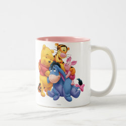 Winnie the Pooh, Tigger, Eeyore and Piglet Group Photo Two-Tone Mug