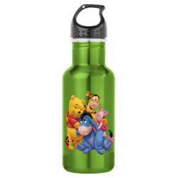 Water Bottle (24 oz) with Winnie the Pooh, Tigger, Eeyore and Piglet Group Photo design