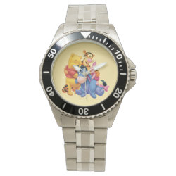 Men's Stainless Steel Bracelet Watch with Winnie the Pooh, Tigger, Eeyore and Piglet Group Photo design