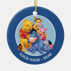 Winnie the Pooh, Tigger, Eeyore and Piglet Group Photo Circle Ornament
