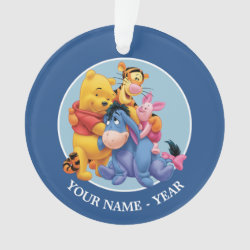 Circle Acrylic Ornament with Winnie the Pooh, Tigger, Eeyore and Piglet Group Photo design