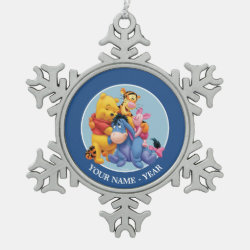 Pewter Snowflake Ornament with Winnie the Pooh, Tigger, Eeyore and Piglet Group Photo design
