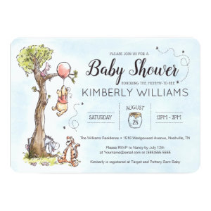 Pooh & Friends Watercolor Baby Shower Invitation