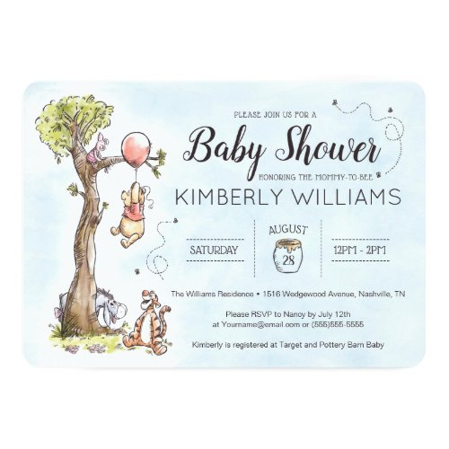 Pooh  Friends Watercolor  Baby Shower Invitation