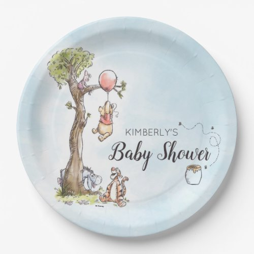 Pooh & Friends Watercolor   Baby Shower Paper Plate