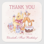 "Pooh &amp; Friends Watercolor |  Birthday Thank You Square Sticker<br><div class=""desc"">Thank all your family and friends for coming to your child&#39;s Winnie the Pooh themed Birthday Party with these sweet birthday thank you stickers. Personalize by adding your own custom message.</div>"