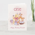 "Pooh &amp; Friends Watercolor | First Birthday Card<br><div class=""desc"">Look who&#39;s ONE! Celebrate your little one&#39;s first birthday with this super cute Winnie the Pooh Birthday postcard.</div>"