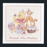 "Pooh &amp; Friends Watercolor | First Birthday Paper Dinner Napkin<br><div class=""desc"">This super cute Birthday napkin features Winnie the Pooh,  Tigger and Piglet along with a birthday cake and presents. Personalize by adding your own custom message.</div>"