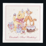 "Pooh & Friends Watercolor | First Birthday Paper Dinner Napkin<br><div class=""desc"">This super cute Birthday napkin features Winnie the Pooh,  Tigger and Piglet along with a birthday cake and presents. Personalize by adding your own custom message.</div>"