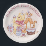"Pooh &amp; Friends Watercolor | First Birthday Paper Plate<br><div class=""desc"">These super cute Birthday plates feature Winnie the Pooh,  Tigger and Piglet along with a birthday cake and presents. Personalize by adding your own custom message.</div>"