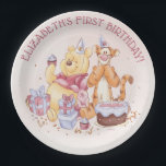 "Pooh & Friends Watercolor | First Birthday Paper Plate<br><div class=""desc"">These super cute Birthday plates feature Winnie the Pooh,  Tigger and Piglet along with a birthday cake and presents. Personalize by adding your own custom message.</div>"