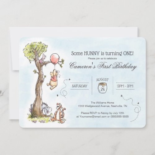 Pooh  Friends Watercolor Tree  First Birthday Invitation