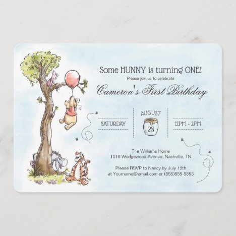 Pooh & Friends Watercolor Tree   First Birthday Invitation
