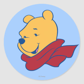 Pooh in Red Scarf Classic Round Sticker