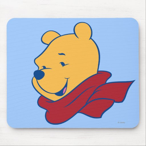 Pooh in Red Scarf Mousepad