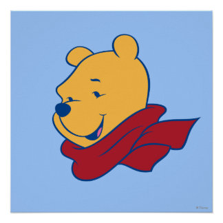 Pooh in Red Scarf Poster