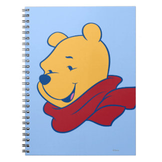 Pooh in Red Scarf Spiral Notebook