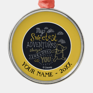 Pooh | My Sweetest Adventures Add Your Name Metal Ornament