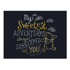 Pooh | My Sweetest Adventures Postcard at Zazzle