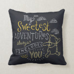 "Pooh | My Sweetest Adventures Throw Pillow<br><div class=""desc"">Winnie the Pooh skipping under the clouds with the cute saying &quot;My sweetest adventures always include you.&quot;</div>"