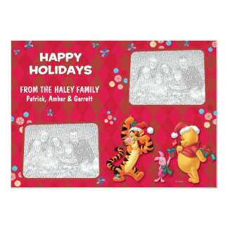 Pooh & Pals: Happy Holidays Card Custom Announcements