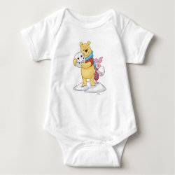 Baby Jersey Bodysuit with Cute Winter Winnie the Pooh and Piglet in the Snow design