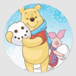 Round Sticker with Cute Winter Winnie the Pooh and Piglet in the Snow design