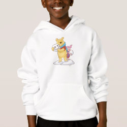 Girls' American Apparel Fine Jersey T-Shirt with Cute Winter Winnie the Pooh and Piglet in the Snow design